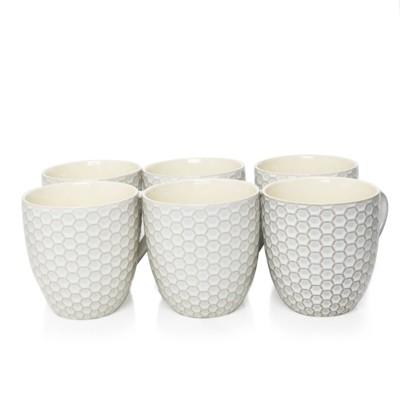 15oz 6pk Stoneware Hexagon Mug Set White - Elama