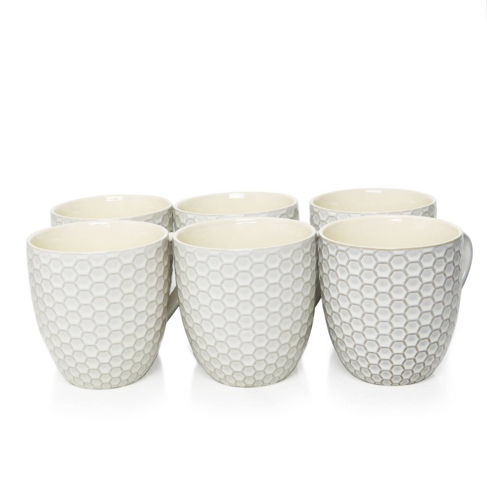 Image of 15oz 6pk Stoneware Hexagon Mug Set White - Elama
