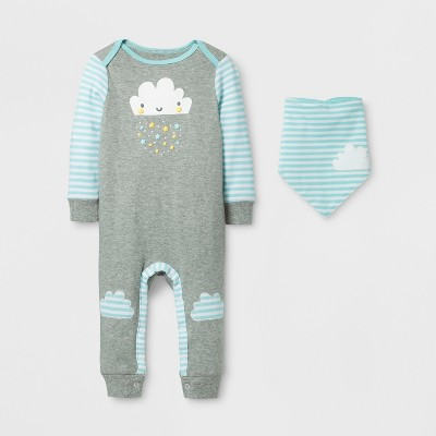 Baby 2pc Cloud Coverall Set Cloud Island™ - Gray/Aqua 3-6M