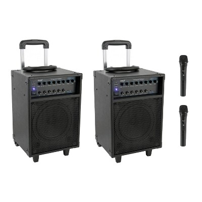 Pyle PWMA230BT 700 Watt Wireless Portable Bluetooth PA Speaker System with Handle, Wheels, MP3/USB/Micro SD, FM Radio and Party Lights (2 Pack)