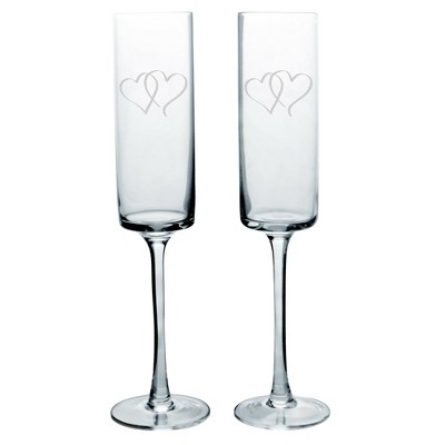 2ct Two Hearts Contemporary Wedding Champagne Flutes