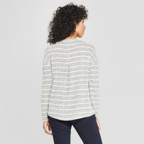 01d7d8b4d Women's Striped Long Sleeve Cozy Knit Top - A New Day™ White/Black ...