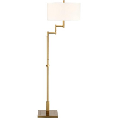 Possini Euro Design Artisan Swing Arm Floor Lamp Warm Antique Brass Linen Drum Shade for Living Room Reading Bedroom Office