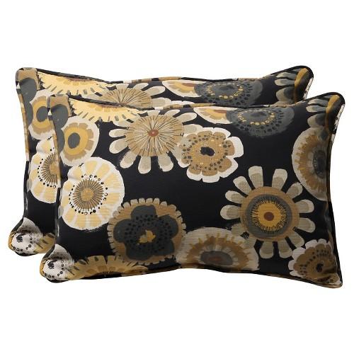 'Outdoor 2-Piece Lumbar Toss Pillow Set - Black/Yellow Floral 24'''
