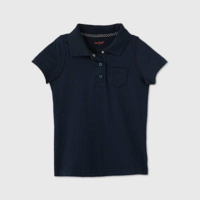 Toddler Girls' Adaptive Short Sleeve Polo Shirt - Cat & Jack™ Navy