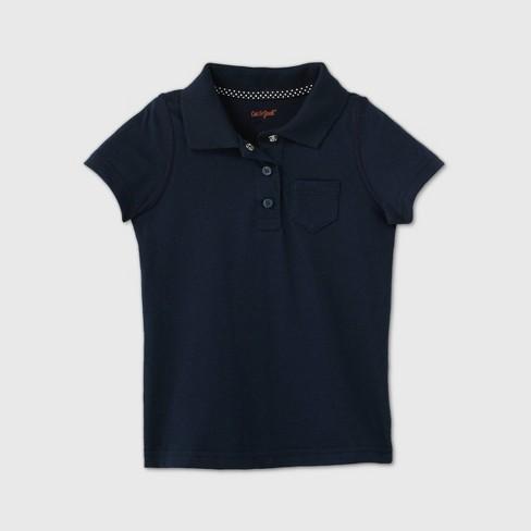 Toddler Girls' Adaptive Short Sleeve Polo Shirt - Cat & Jack™ Navy - image 1 of 2