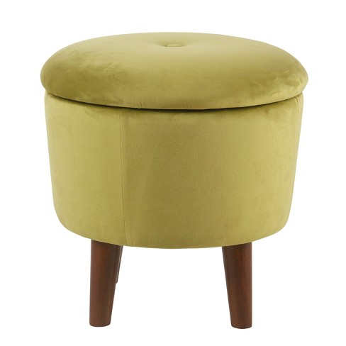 Fine Modern Round Velvet Tufted Storage Ottoman Homepop Short Links Chair Design For Home Short Linksinfo
