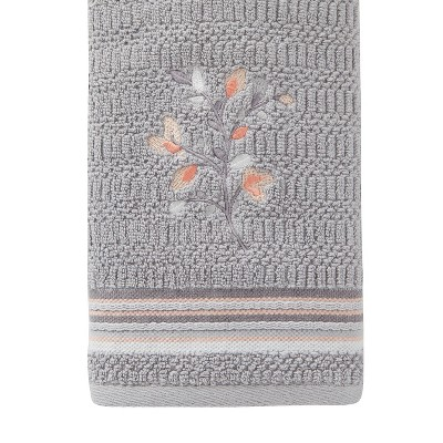 2pc Greenhouse Leaves Hand Towel Gray - SKL Home
