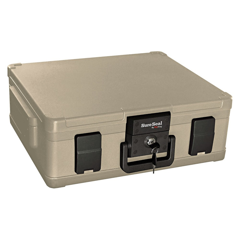 SureSeal By FireKing Fire and Waterproof Chest, 0.38 ft3, 19-9/10w x 17d x 7-3/10h, Taupe (Brown) Designed to meet the security needs of today's consumer by protecting CDs/DVDs, flash drives, portable hard drives and other valuables from fire and water damage. Accommodates letter- and legal-size documents. Dual compression latches and handle. Waterproof for two hours. Outer Width: 19 9/10; Outer Depth: 17 ; Outer Height: 7 3/10 ; Capacity (text): 0.38 cu. ft. Color: Taupe.