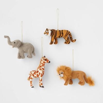 4pk Faux Fur Animal Christmas Tree Ornament Set - Wondershop™