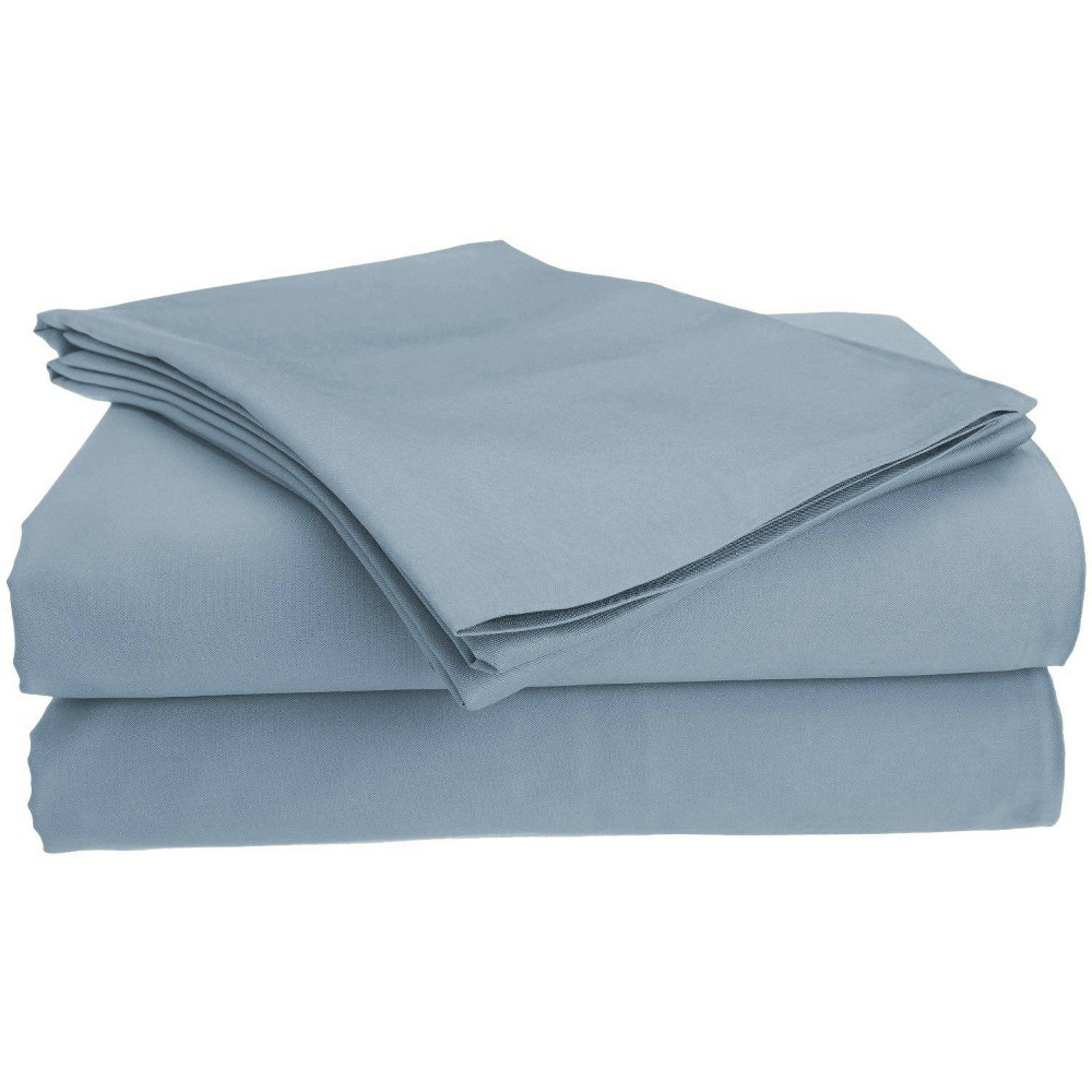 Image of Full Garment Wash Microfiber Solid Sheet Set Blue - Posh Home