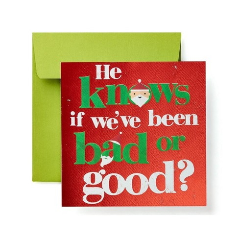 """""""He Knows If We've Been Bad or Good"""" Santa Lettering Card - image 1 of 4"""