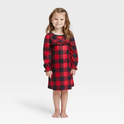 Toddler Holiday Buffalo Check Flannel Matching Family Pajama NightGown - Wondershop™ Red