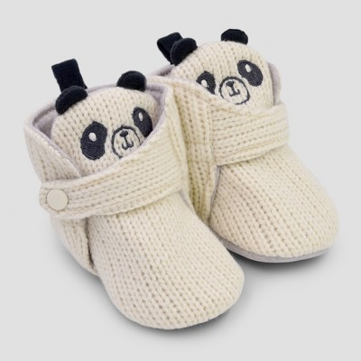 Baby Panda Bootie Slippers - Cat & Jack™ Cream 3-6M