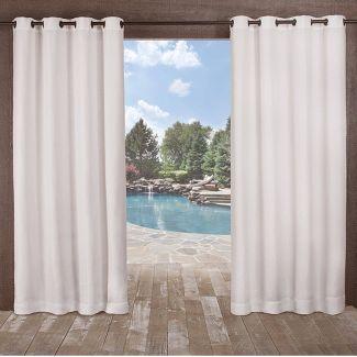 """Set of 2 108""""x54"""" Delano Heavyweight Textured Indoor/Outdoor Grommet Top Window Curtain Panel White - Exclusive Home"""