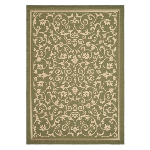 "Vaucluse Rectangle 6'7"" X 9'6"" Outdoor Rug - Olive / Natural - Safavieh® - image 1 of 1"