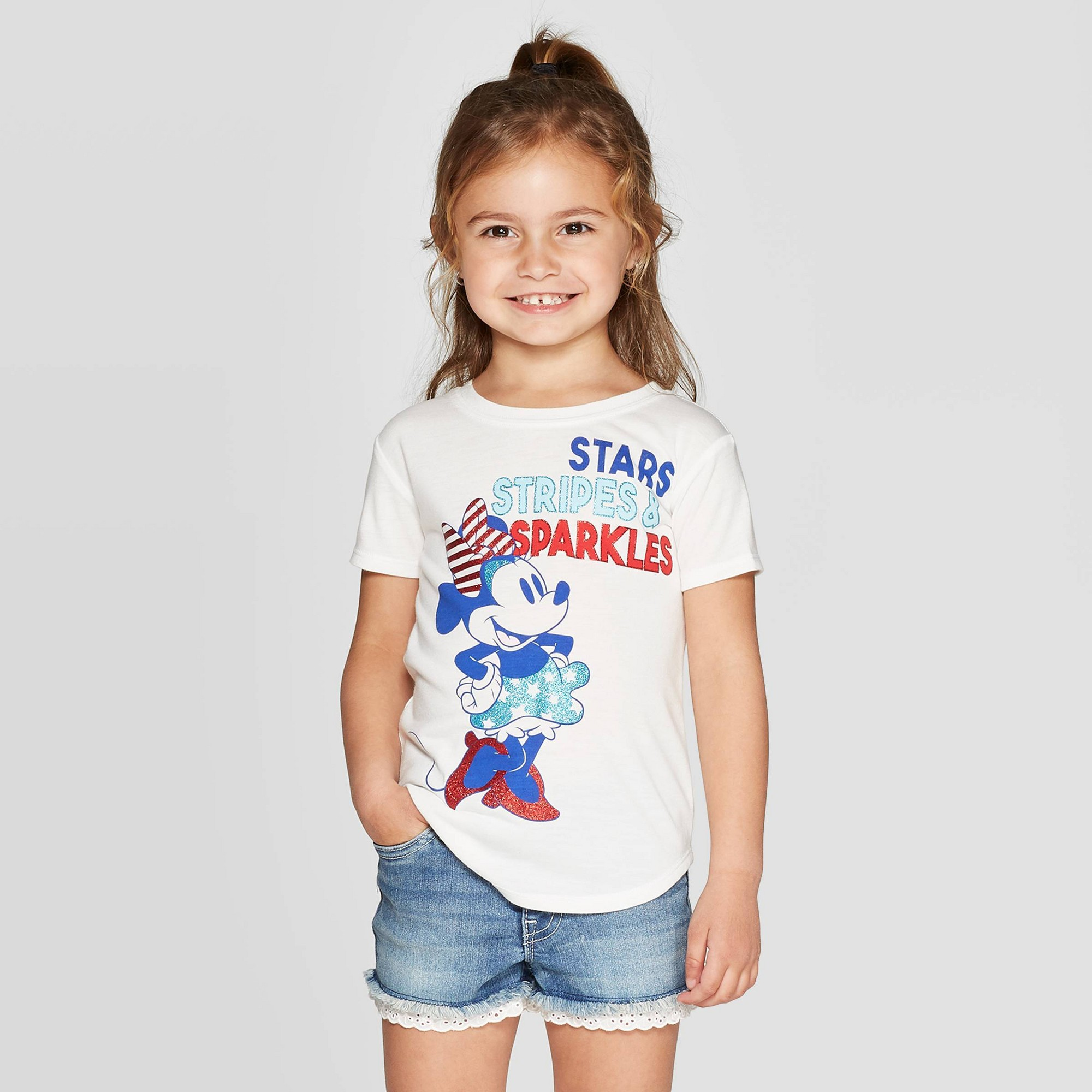 Toddler Girls' Minnie Mouse Minnie American Short Sleeve T-Shirt - Ivory 18M, White