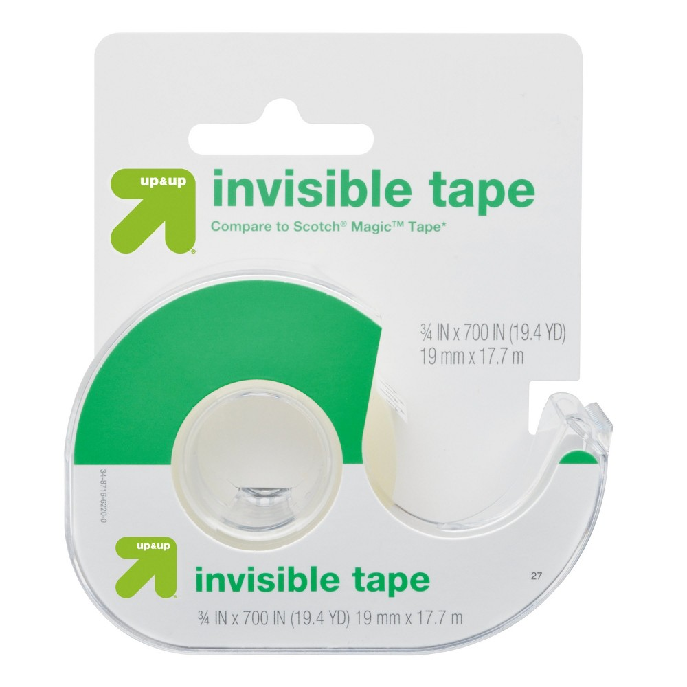 Invisible Tape (Compare to Scotch Magic Tape) - Up&Up, Clear Seal packages and mend rips with the Invisible Tape 3/4in x 700in from up and up. This roll of clear tape is great for home or office use and makes gift wrapping a breeze.