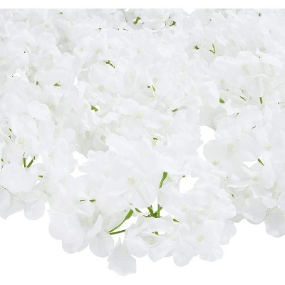 12 Pack Artificial Fake Silk Hydrangea Flower Head for Wedding Decoration, Bridal Bouquet, Home Decor - White