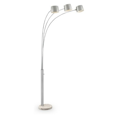 """81"""" Traditional Metal Arc Floor Lamp with 3 Adjustable Arms (Includes CFL Light Bulb) Silver - Ore International"""