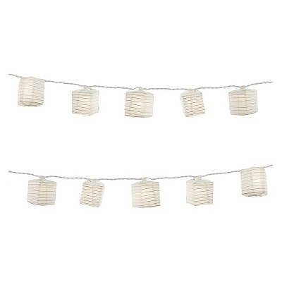 "10ct 2.5""x7' Square Electric String Lights with Nylon LED Lanterns White"