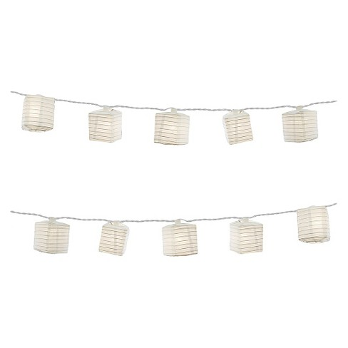 "10ct Lumabase White Electric String Lights with 2.5""x7' Square Nylon Lanterns - image 1 of 3"