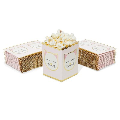 """60 Pack Kitty Cat Popcorn Boxes, 4"""" Mini Pink Kitten Party Favor Candy Treat Boxes for Birthday"""