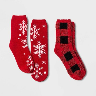 Kids' Holiday Snowflake 2pk Cozy Crew Socks with Gift Card Holder - Wondershop™ Red XS/S