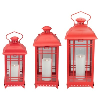 "Melrose Set of 3 Matte Red Mission Style Glass Pillar Candle Lanterns 21.5"""