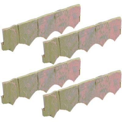 Suncast Landscape Design Border Decorative Natural Rock Plastic Edging (4 Pack)
