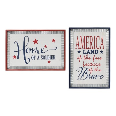 Gerson International 36.2-Inch Long Wood Patriotic Wall Hanging with Metal Accents, Set of  2