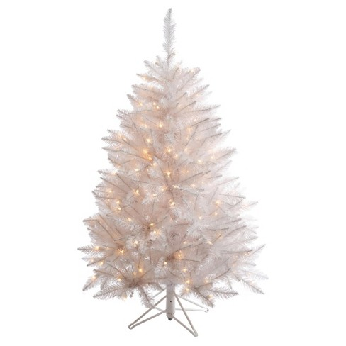 4.5 ft Pre-Lit Slim Sparkle White Spruce Artificial Christmas Tree with Clear Lights - image 1 of 2