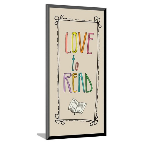 Background With Retro Colored Letters Love To Read By Rebekka Ivacson Mounted Print 8x16