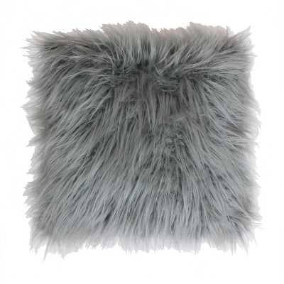"""16""""x16"""" Keller Faux Mongolian Reverse To Micromink Square Pillow Silver - Décor Therapy"""
