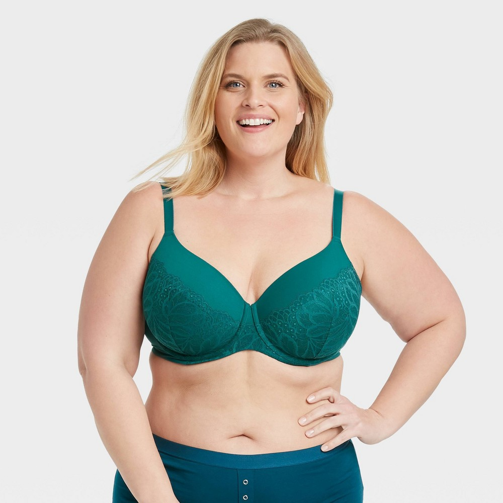 Women 39 S Plus Size Superstar Lightly Lined T Shirt Bra With Lace Auden 8482 Teal 40dd
