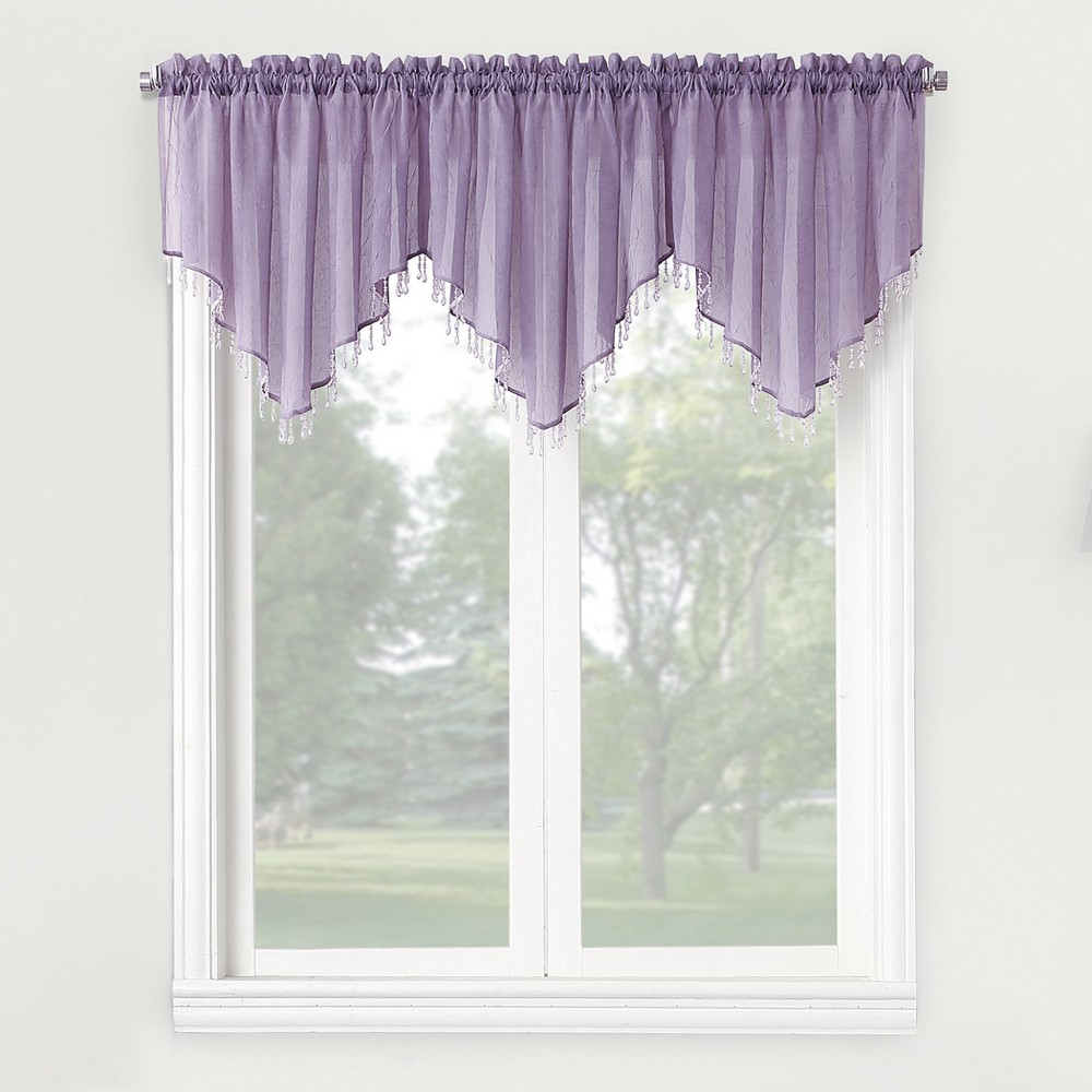 Erica Crushed Sheer Voile Beaded Curtain Valance Lavender (Purple) 51x24 - No. 918