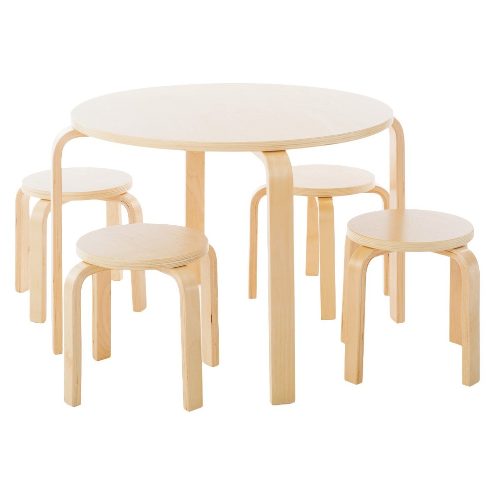 Image of 5 Piece Kids Table and Stools Set - Natural - Guidecraft