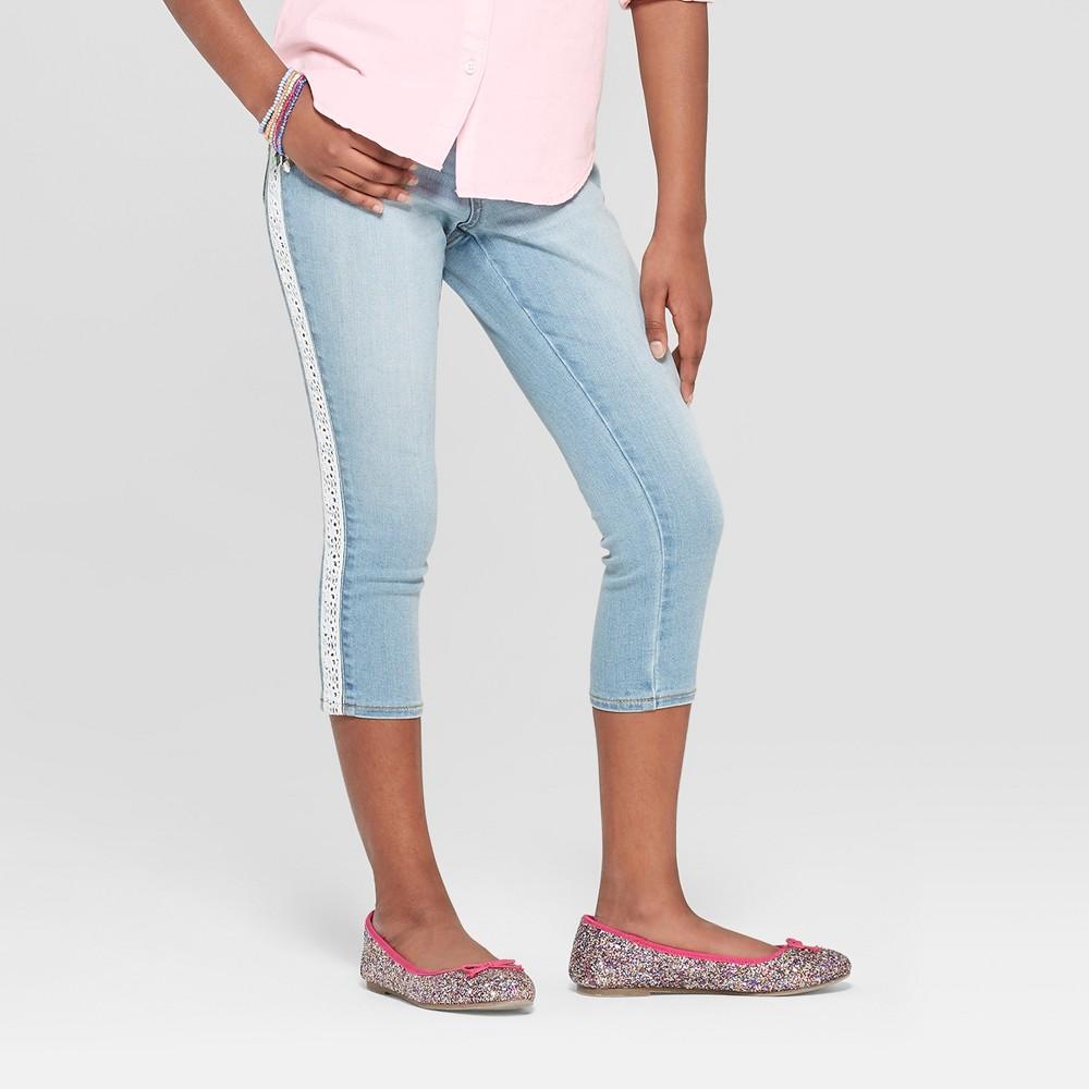 Girls' Crochet Side Stripe Crop Jeans - Cat & Jack Light Wash 10, Blue