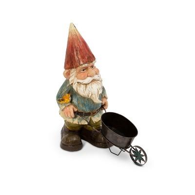 """GIL 22"""" Resin Garden Gnome with Wheelbarrow"""