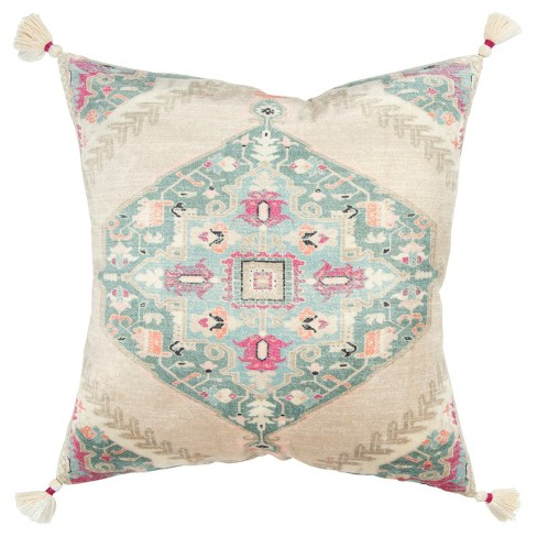 Medallion Decorative Filled Oversize Throw Pillow Pink - Rizzy Home - image 1 of 4