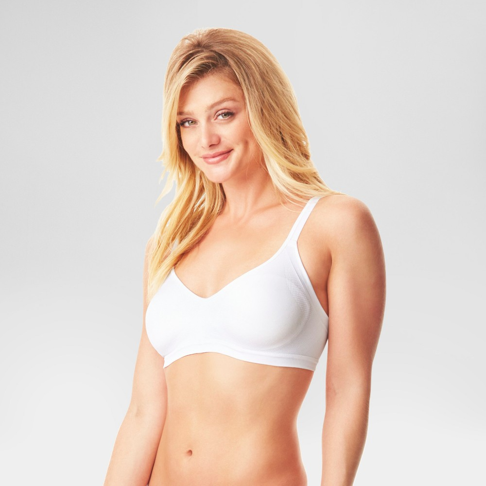 Image of Simply Perfect by Warner's Women's Underarm Smoothing Seamless Wireless Bra White M, Women's, Size: Medium