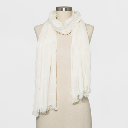 Women's Striped Woven Oblong Scarf - Universal Thread™ Sour Cream - image 1 of 2