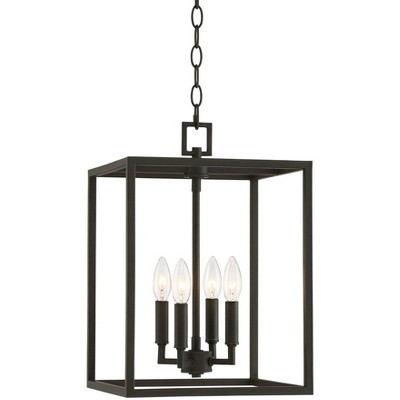"Franklin Iron Works Bronze Mini Foyer Pendant Chandelier 12"" Wide Rustic Farmhouse Open Cube 4-Light Fixture for Kitchen Entryway"