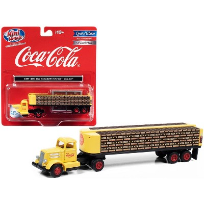 """White WC22 Truck Tractor with Bottle Trailer Yellow """"Coca-Cola"""" 1/87 (HO) Scale Model by Classic Metal Works"""
