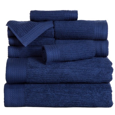 Solid Bath Towels And Washcloths 10pc Navy - Yorkshire Home