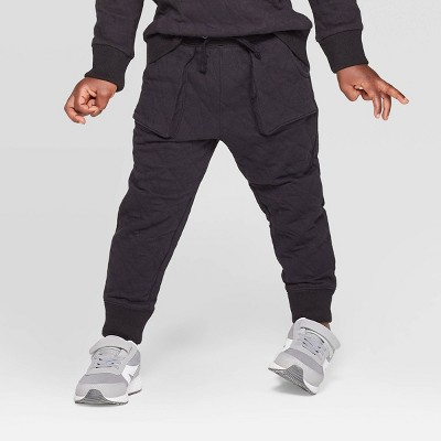 Toddler Boys' Specialty Quilted Jacquard Jogger Pants - Cat & Jack™ Black 12M
