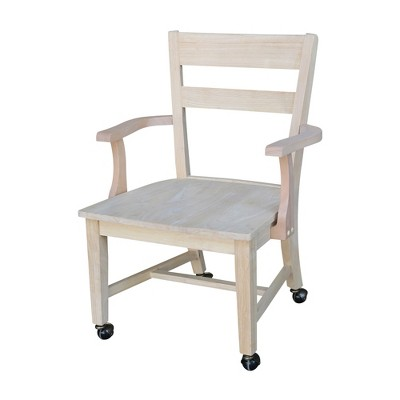 Dining Chair with Casters - Unfinished - International Concepts
