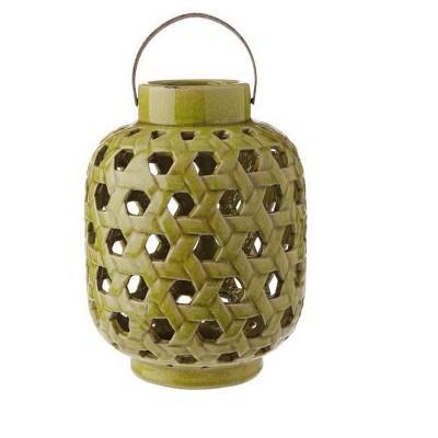 "Raz Imports 12.5"" Tea Garden Caladium Leaf Green Glazed Terracotta Crackled Decorative Pillar Candle Lantern"