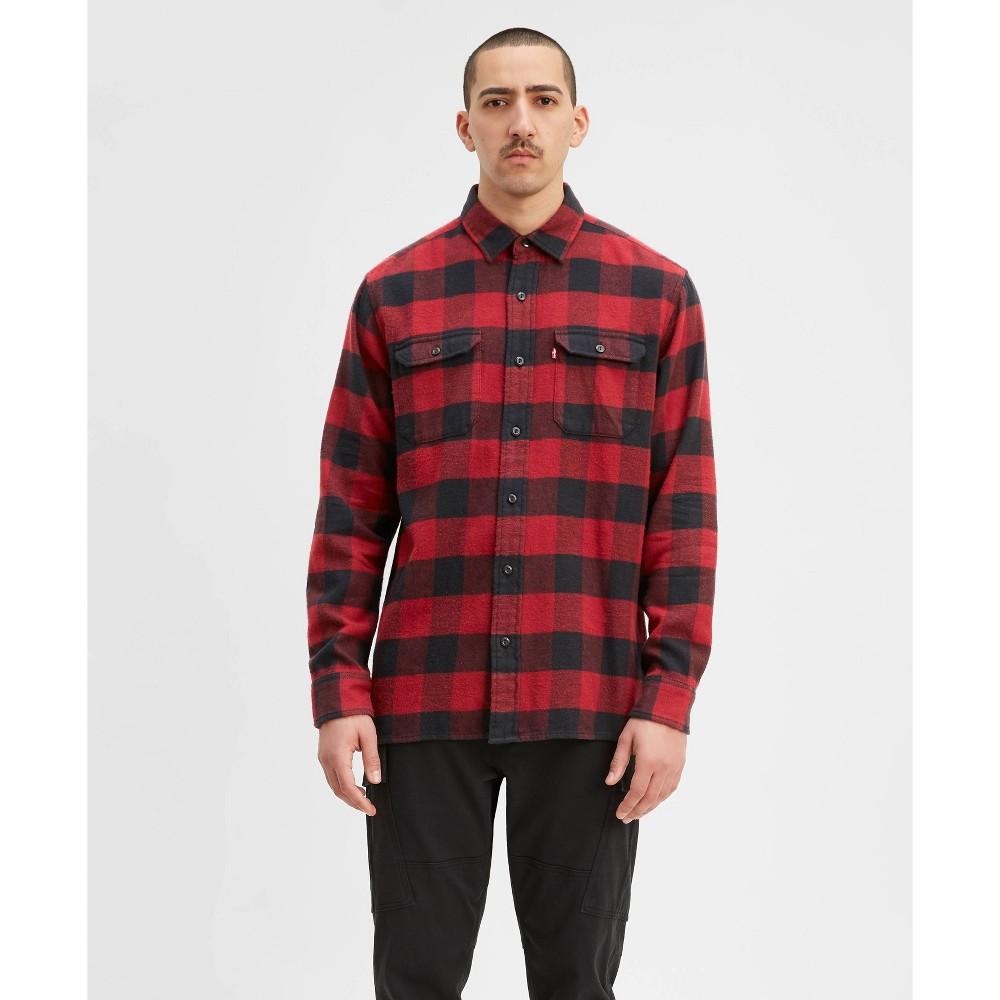 Men's Vintage Workwear – 1920s, 1930s, 1940s, 1950s Levis Mens Plaid Flannel Long Sleeve Button-Down Shirt - Red 2XL $59.99 AT vintagedancer.com