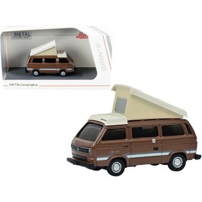 Volkswagen T3b Joker Camper Bus with Pop-Top Roof Brown and Cream 1/87 (HO) Diecast Model by Schuco